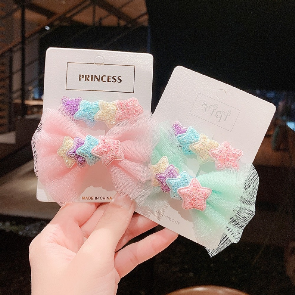 2Pcs Cute Bright Cartoon Hair Clips Mesh Bows Hairpins For Girls Kids Lovely Barrettes Children Hair Accessories недорого