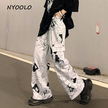 NYOOLO تصميم غير رسمي ثلاثية الأبعاد هندسي طباعة جيوب كبيرة بنطال ذو قصة أرجل واسعة خريف ملابس الشارع الشهير فضفاض مرونة الخصر كامل طول السراويل