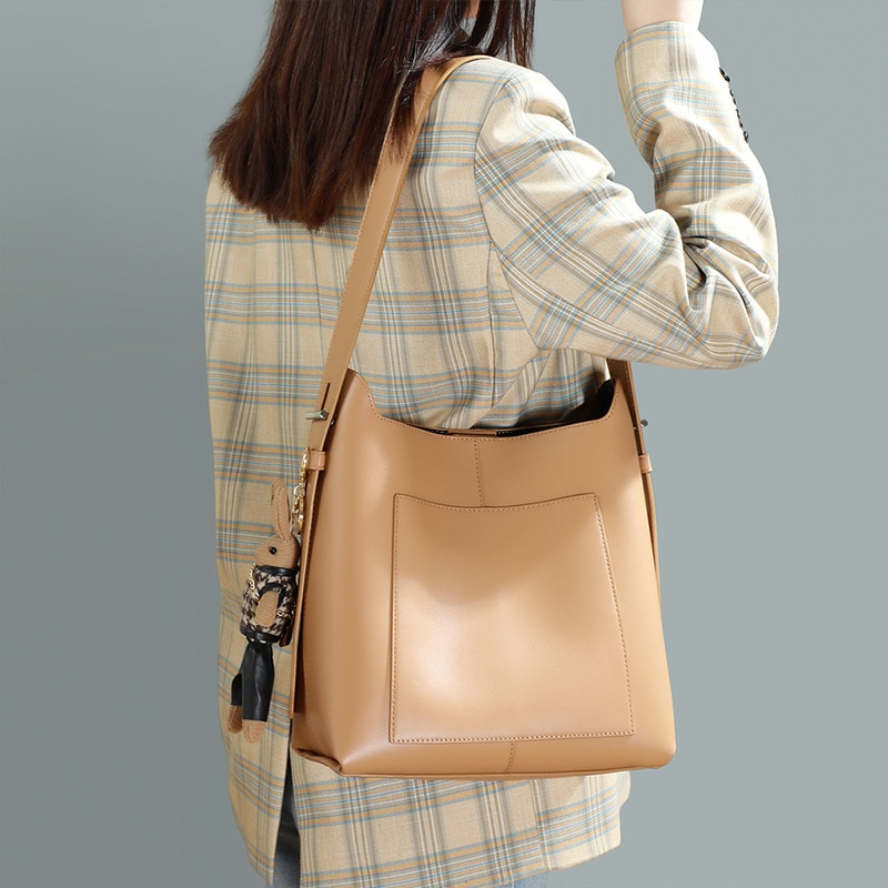 Women's Bag Summer Fashion Underarm Bags Female Cow Leather Bucket Bag All-Match Large-Capacity Shou