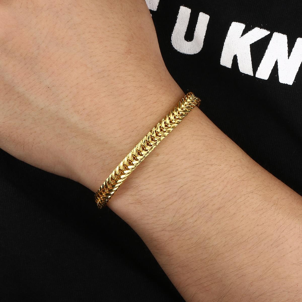 Vintage Snake Bracelet Men Gold Flat Snake Bone Wrist Chain Minimalist Hip Hop Male Female Gold Bracelet Bangle pulseira homme