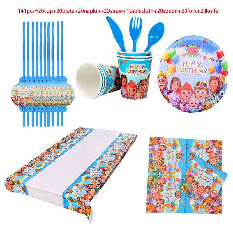 товары для праздника Одноразовая посуда Cocomelon, украшение для детского дня рождения, одноразовые соломинки, шарики, тарелки, товары для детского праздника