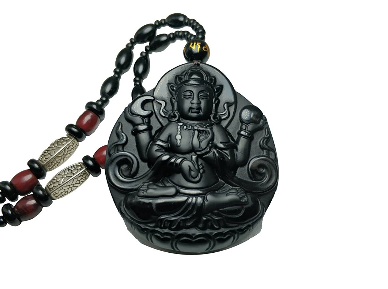 LETSFUN Fine Jewelry clin-kk Natural Obsidian Four Hands Arms Avalokitesvara Kwan-Yin Bodhisattva Buddha Pendant Necklace