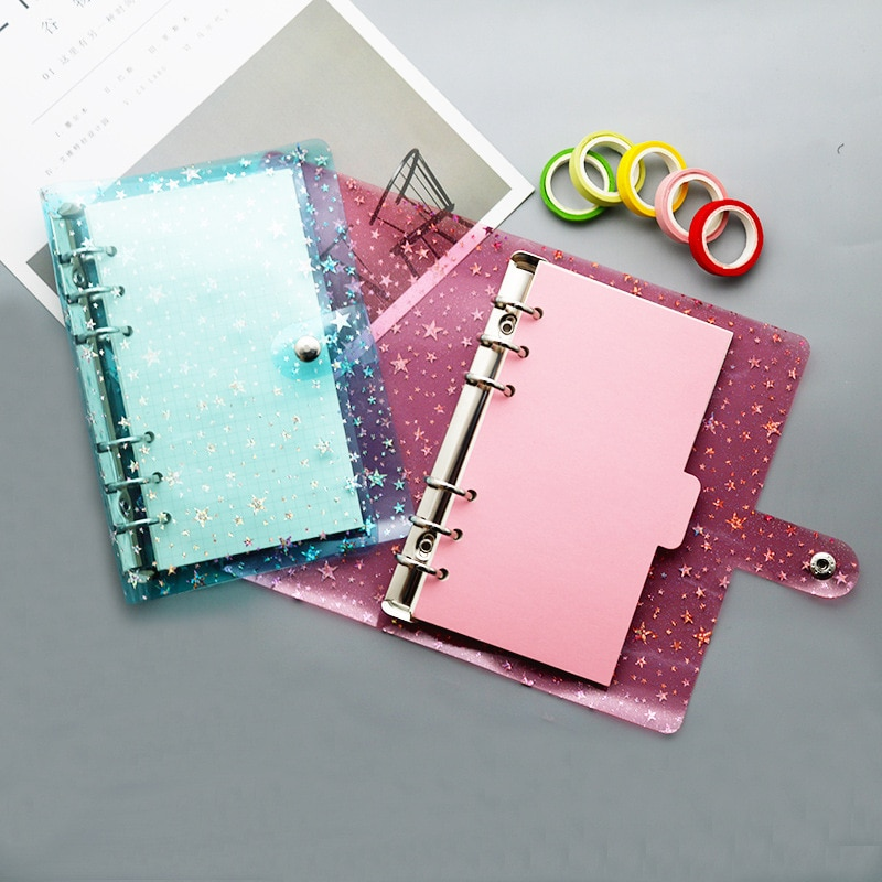 A5 Binder PVC Six-Hole Loose-Leaf Shell Hand Book Loose-Leaf  Core Cover Notebook Office Stationery Supplies