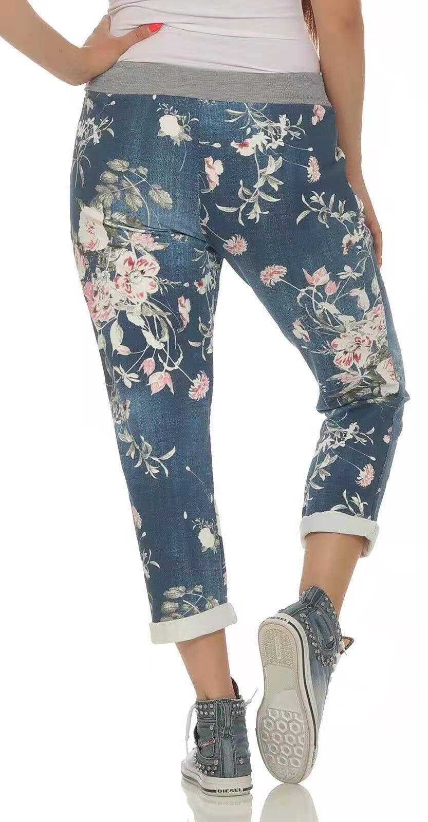 Женские модные джинсы с цветочным принтом, эластичная талия, повседневные джинсы, брюки до щиколотки, свободные брюки со шнуровкой, джинсы в...