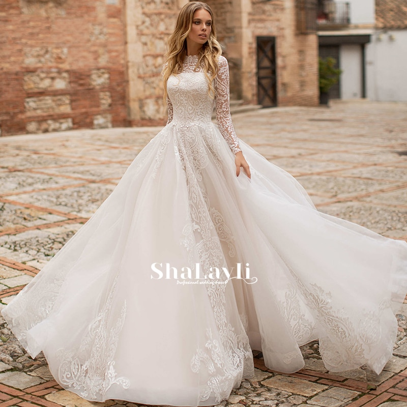 Get Elegant Retro Wedding Dress With Chiffon Yarn And Satin And Trailing Long-Sleeved Neckline Bohemian Button-Shaped Haute Couture