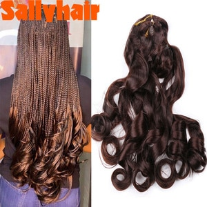 Sallyhair Synthetic French Curly Bulk Spiral Curls Crochet Braids Hair High Temperature Loose Wave Braiding Hair Extensions
