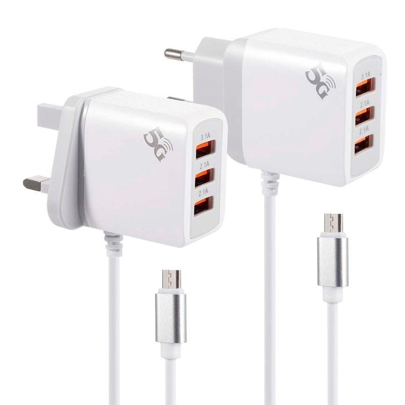 Enchufe de la UE del Reino Unido, 3 puertos 3.1A 5V, adaptador de fuente de alimentación del cargador del USB con el Cable de carga Micro del USB para la tableta PC del teléfono móvil