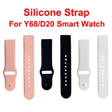 Universal Silicone Strap For Y68 D20 D28 Smartwatch Replace Soft TPU Wrist Watchband Belt Smart Watch Band Black Pink White