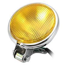 Chrome Motorrad Scheinwerfer Gelb Café Racer Kopf Licht Dekorative Metall Lichter Beleuchtung Geändert Motorrad Hinten Licht