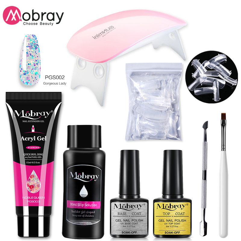 Mobray Poly UV Gel Sets Nail Gel Kit 15ml Nail Gel With UV/Led Lamp Quick Building Clear Gel Nail Polish for Nail Extensions