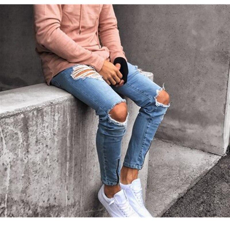 Мужские спортивные брюки Adisputent, сексуальные джинсовые брюки с дырками, новинка, повседневные мужские рваные облегающие брюки, зауженные ба...