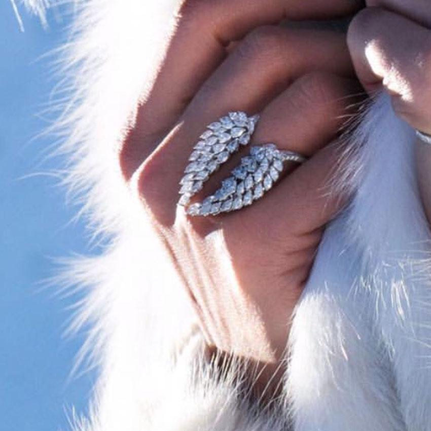 Anillos ajustables de Plata de Ley 925 con forma única para mujer, anillos de cristal de corte Marquesa de lujo, joyería para regalo de tres estilos