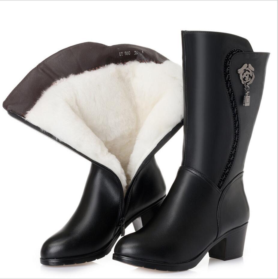CY394 nuevas Botas de lana de cuero genuino para Mujer gruesas Botas de nieve de invierno de gran tamaño 43 Botas de motocicleta Botas Mujer calzado