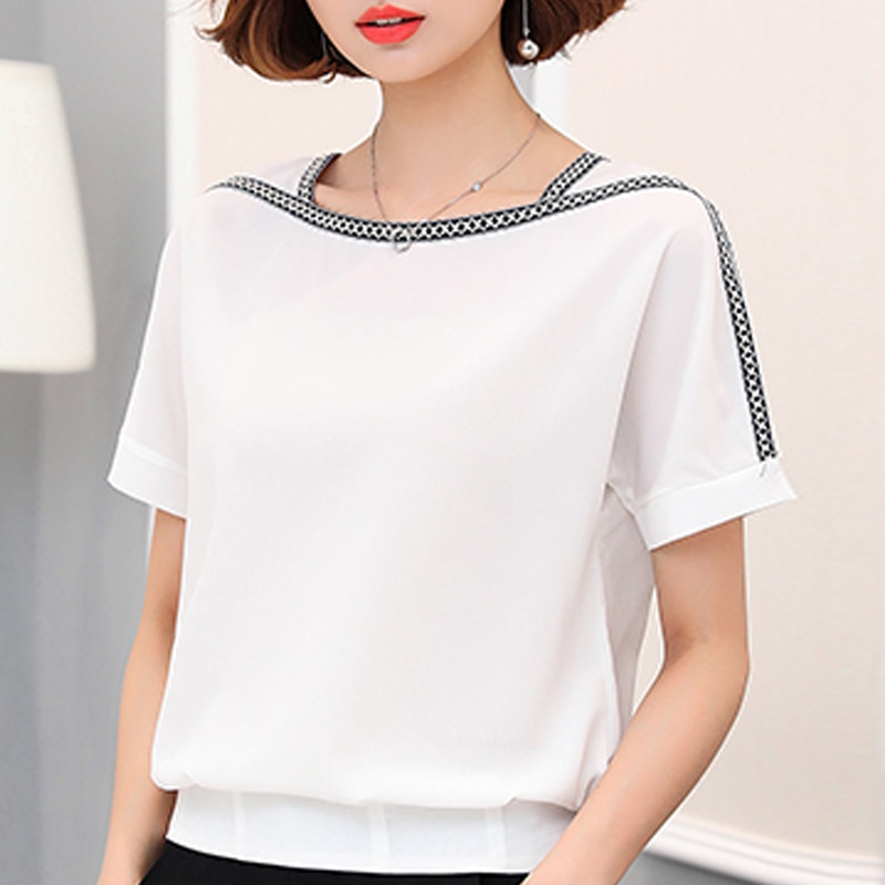 blouse trueprodigy blouse Summer Chiffon White Blouse Short Sleeve Blouse Women New Woman Blouses 2021 Clothes 3XL Plus Size Blouse Women Tops