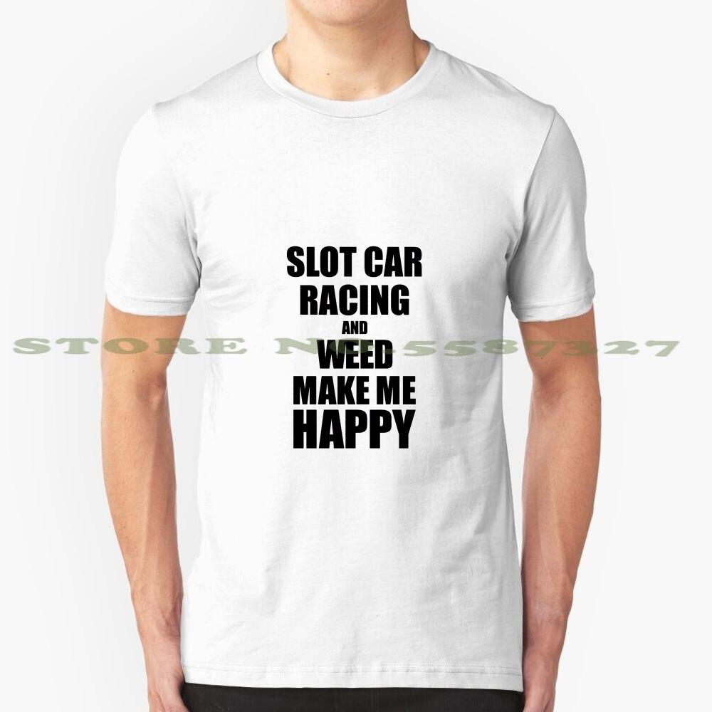 Caça-níqueis carro de corrida e erva daninha me fazer feliz engraçado presente ideia para hobby amante legal design na moda camiseta slot carro de corrida slot carro