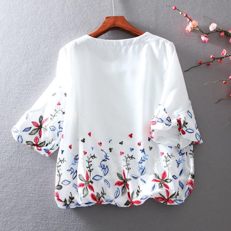 Moda mujer Primavera Verano blusas Vintage muñeca camisa manga corta cuello redondo estampada camisa dulce mujeres Tops DF3627