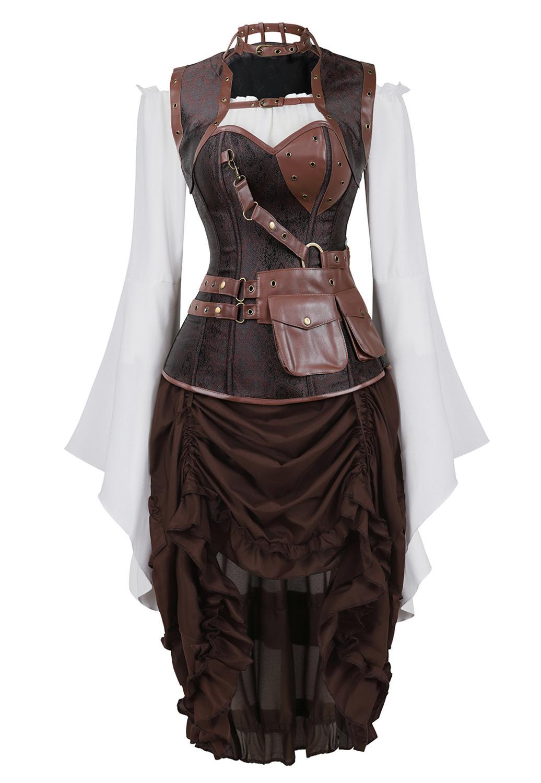 3 قطع تمثال نصفي مع تنورة قرصان وبلوزة ، ريترو ، جلد صناعي ، كورسيه ، مثير ، كرنفال ، حفلة ، Steampunk