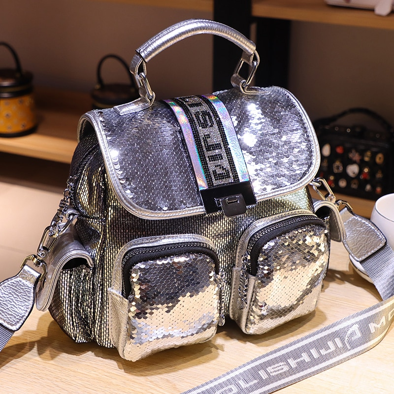 Ita Sequines Mochilas Para Mujer Brand Designer Women's Backpack Branded Small Back Pack School Travel Shoulder Bags