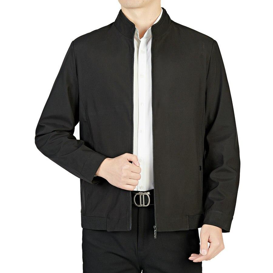 Весенне-осенние мужские тканые куртки черного, темно-синего цвета на молнии спереди, легкие повседневные пальто с воротником «Мандарин», му...