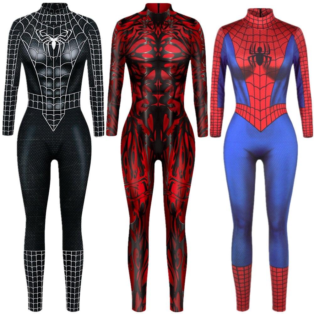 Superhero Sexy Jumpsuit Catsuit Character Eddie Brock Cosplay Costumes Halloween Women Bodysuit Fancy Dress недорого