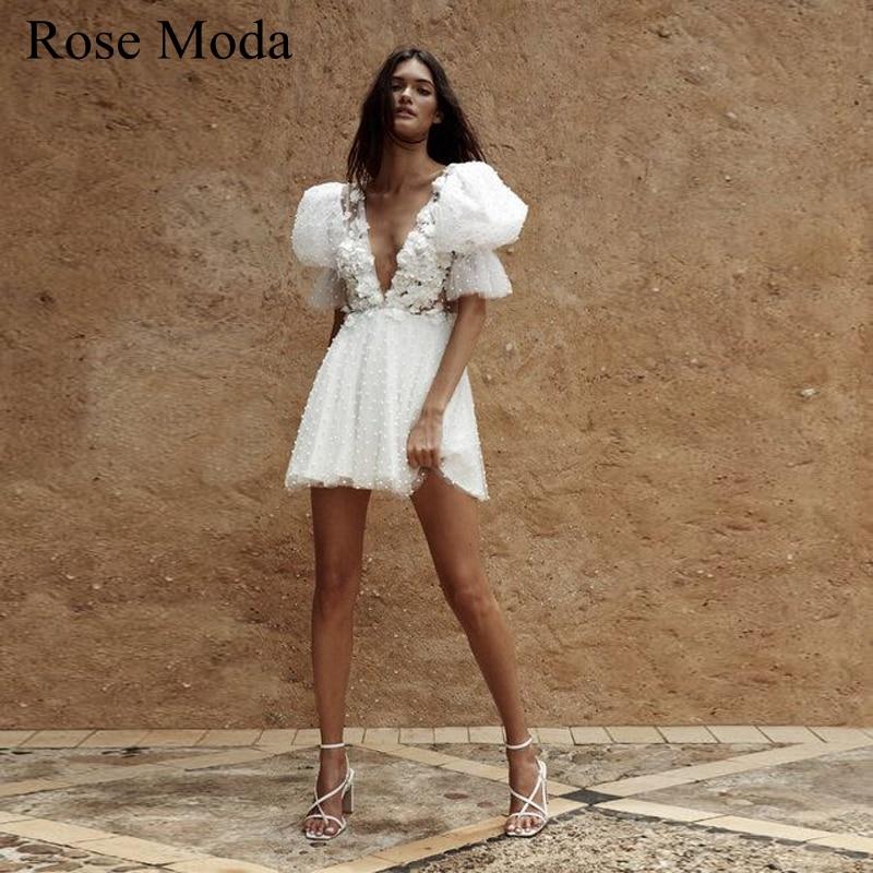 Rose Moda نفخة الأكمام تغرق الخامس الرقبة قصيرة بوهو فستان الزفاف مع اللؤلؤ ثلاثية الأبعاد فستان استقبال الأزهار