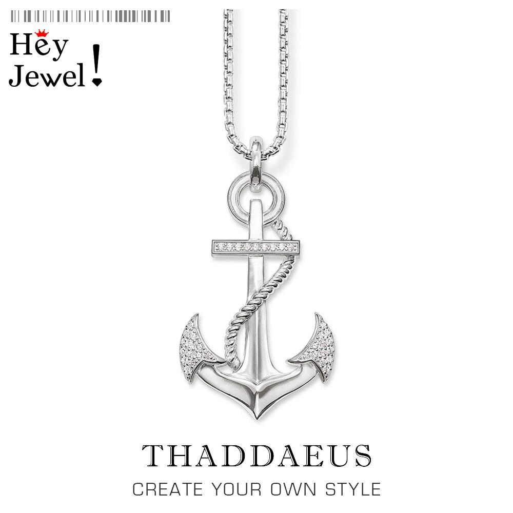 Collar con colgante de anclas blancas Hope, cadena de eslabones de plata esterlina 2017 de marca 925, joyería de moda de estilo Thomas Bijoux, regalo para mujer