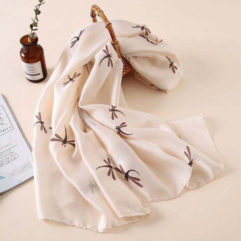 2019 bufandas suaves con estampado de libélula para mujer, bufanda larga con protección solar de verano para mujer, toalla de playa para vacaciones, bufanda de seda, bufanda para mujer
