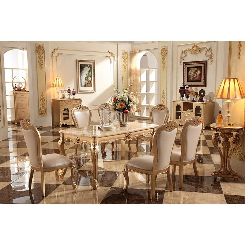 Роскошный набор мебели для столовой 6 стульев из массива дерева цвета