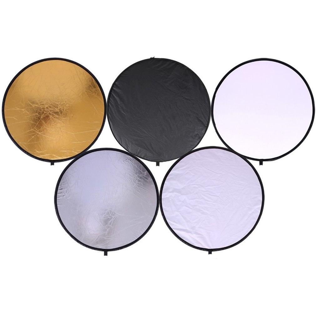 "24 ""60 cm 5 en 1 portátil plegable luz redonda Fotografía Blanco siliery Reflector para estudio Multi Photo Disc difusores"