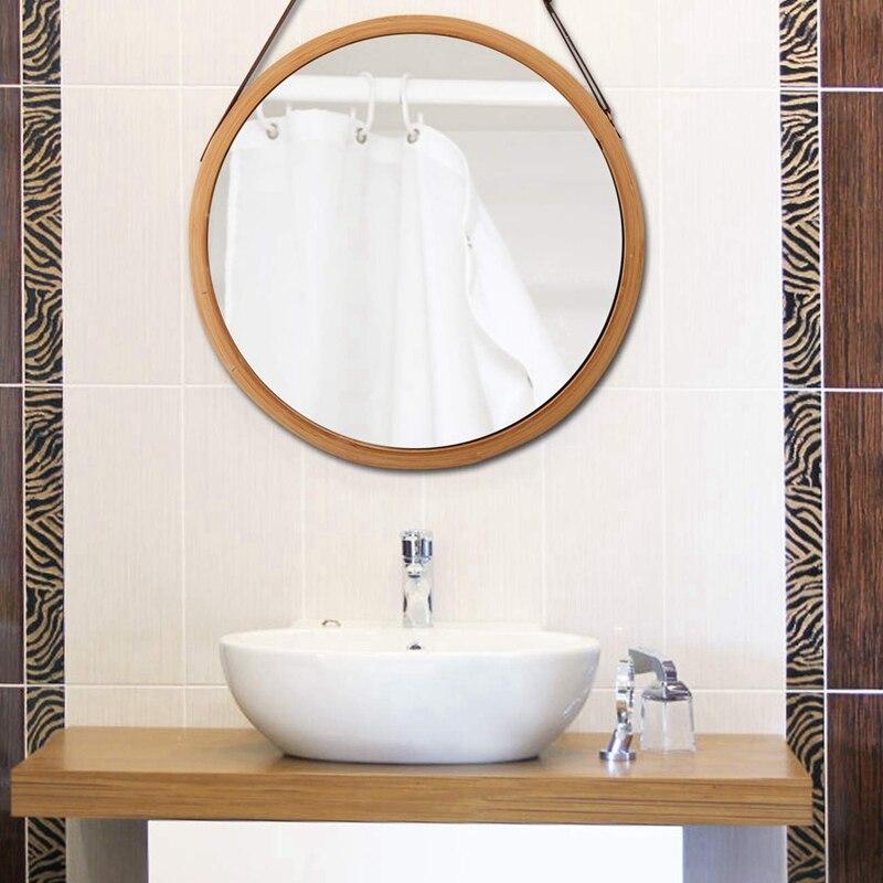 مرآة حائط دائرية معلقة في الحمام وغرفة النوم ، إطار من الخيزران الصلب وحزام جلدي قابل للتعديل