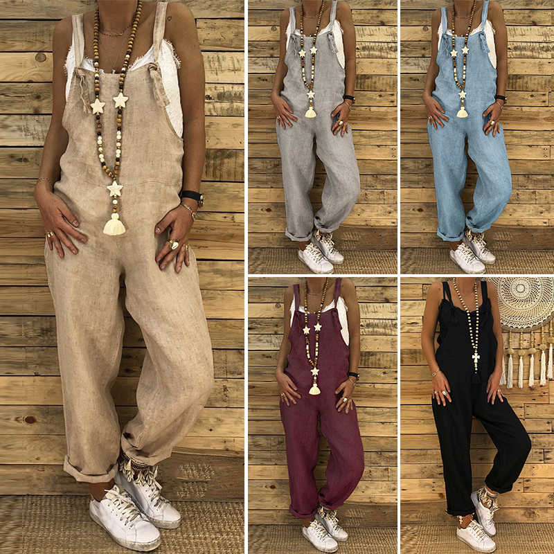 2021 Women Casual Solid Strappy Dungarees Vintage Cotton Linen Loose Party Long Harem Overalls Rompers Jumpsuits