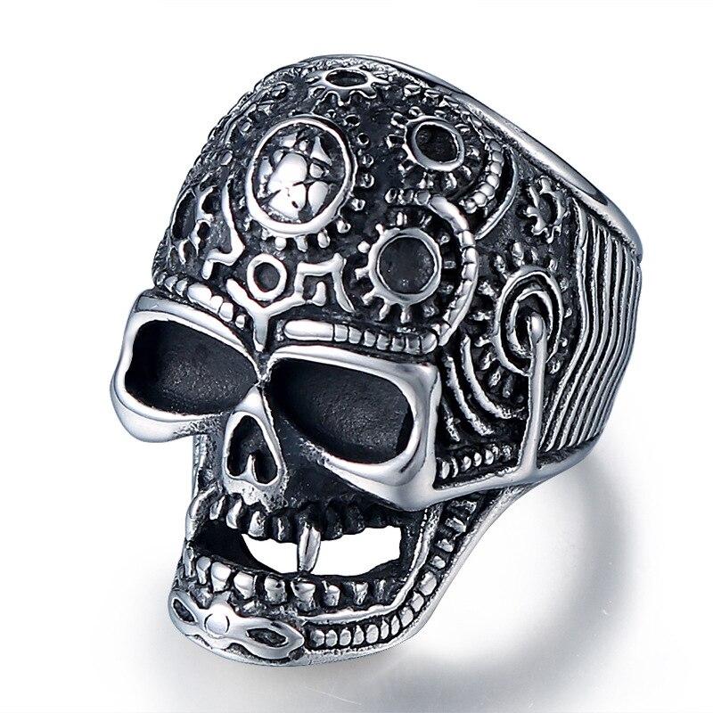 Anillo de calavera para hombre de gran calidad 316L de acero inoxidable, anillo de esqueleto vintage para hombre, joyería Retro Punk rock con personalidad