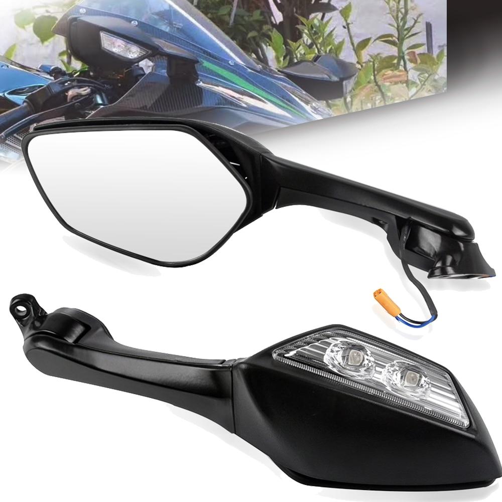 دراجة نارية واسعة زاوية مرآة الرؤية الخلفية الصمام بدوره إشارة ضوء لكاواساكي ZX-10 ZX10 2011 2012 2013 2014 2015 النينجا H2 2014-2015