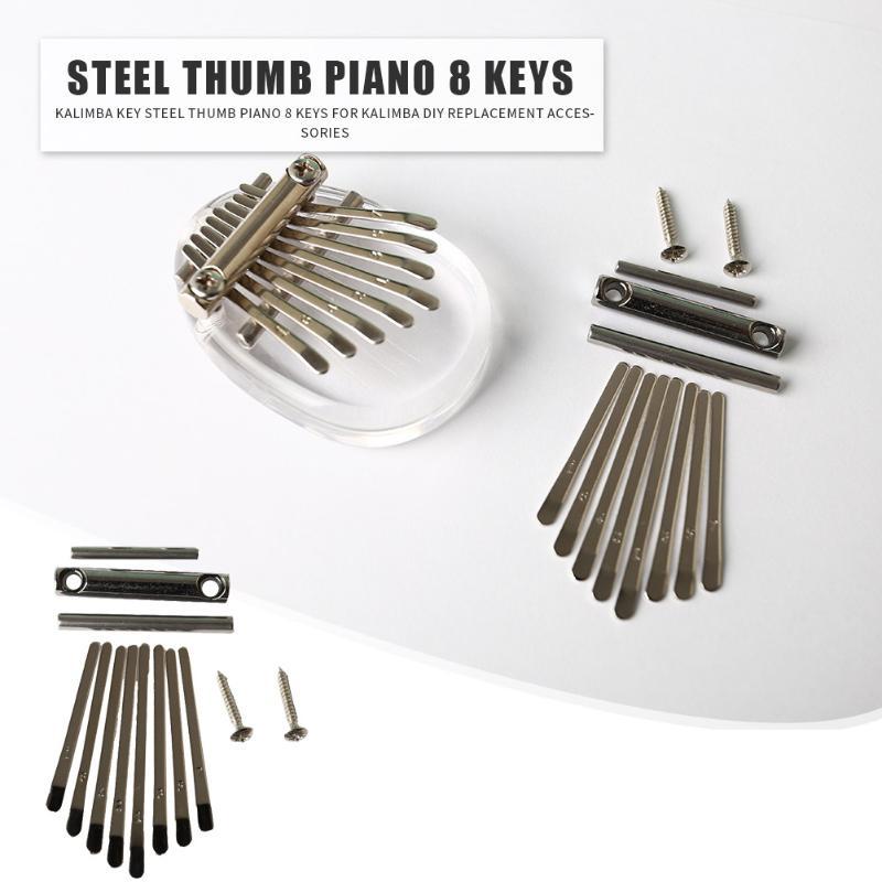 Kalimba DIY juego de metralla pulgar Piano 8 teclas acero escala estenciada identificación letras teclado suministros de repuesto