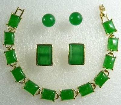 Juego de pendientes de pulsera con colgante de piedra verde encantador> reloj plateado al por mayor de cristal de jade CZ de cuarzo