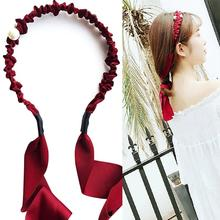 1pc Women Headband Vintage Fake Pearl Decor Head Wrap Headband Hair Hoop With Ribbon Tie Party Dress