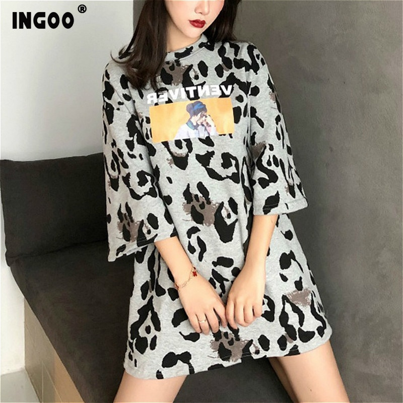 INGOO Summer Speckle Character Print Long T-shirt Over Size Fashion Tee Casual Three Quarter Sleeve Loose Women T-shirts Kawaii