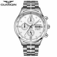 GUANQIN Mechanical Watch Date Mens Automatic Steel Waterproof Luxury Brand Week Watches relogio masculino
