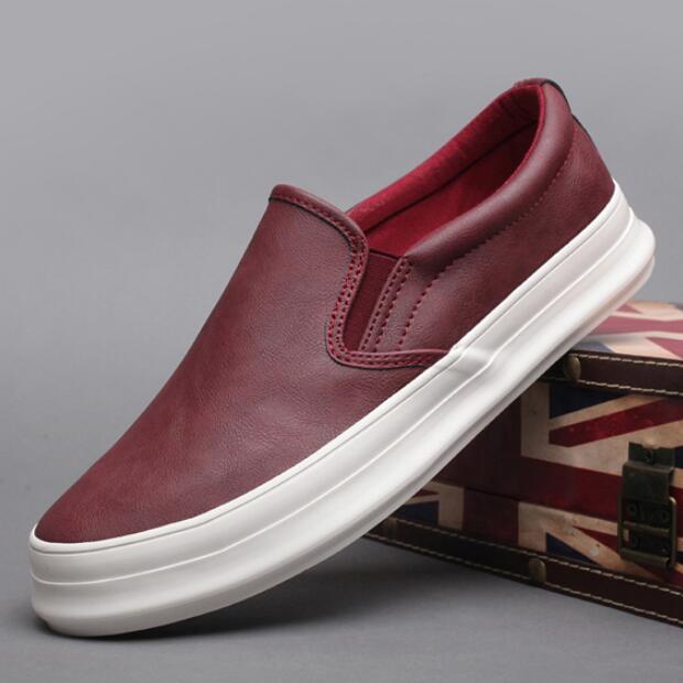 Moda 2019, zapatos vulcanizados para hombres, zapatos mocasín informales de suela gruesa, zapatos de plataforma de tendencia para hombres, zapatillas con costura deslizantes negras