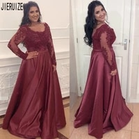 jieruize burgundy evening dresses scoop neck long sleeves beaded lace appliques plus size prom gowns button back formal dresses