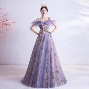 Personality Wedding Dress/Suspenders Sequined Purple Wedding Gown 269