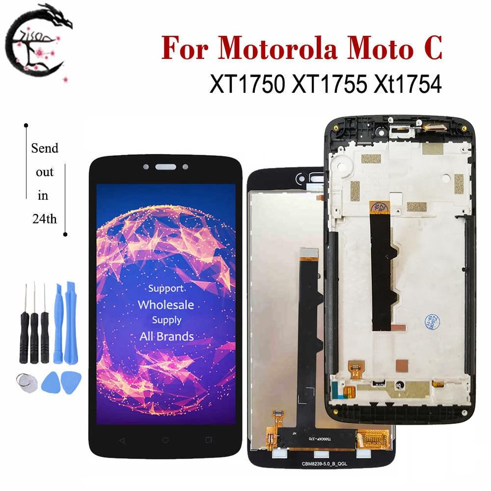 Pantalla LCD de 5,0 pulgadas con marco para Motorola Moto C XT1750 XT1754 XT1755, nuevo ensamblaje de digitalizador con Sensor táctil