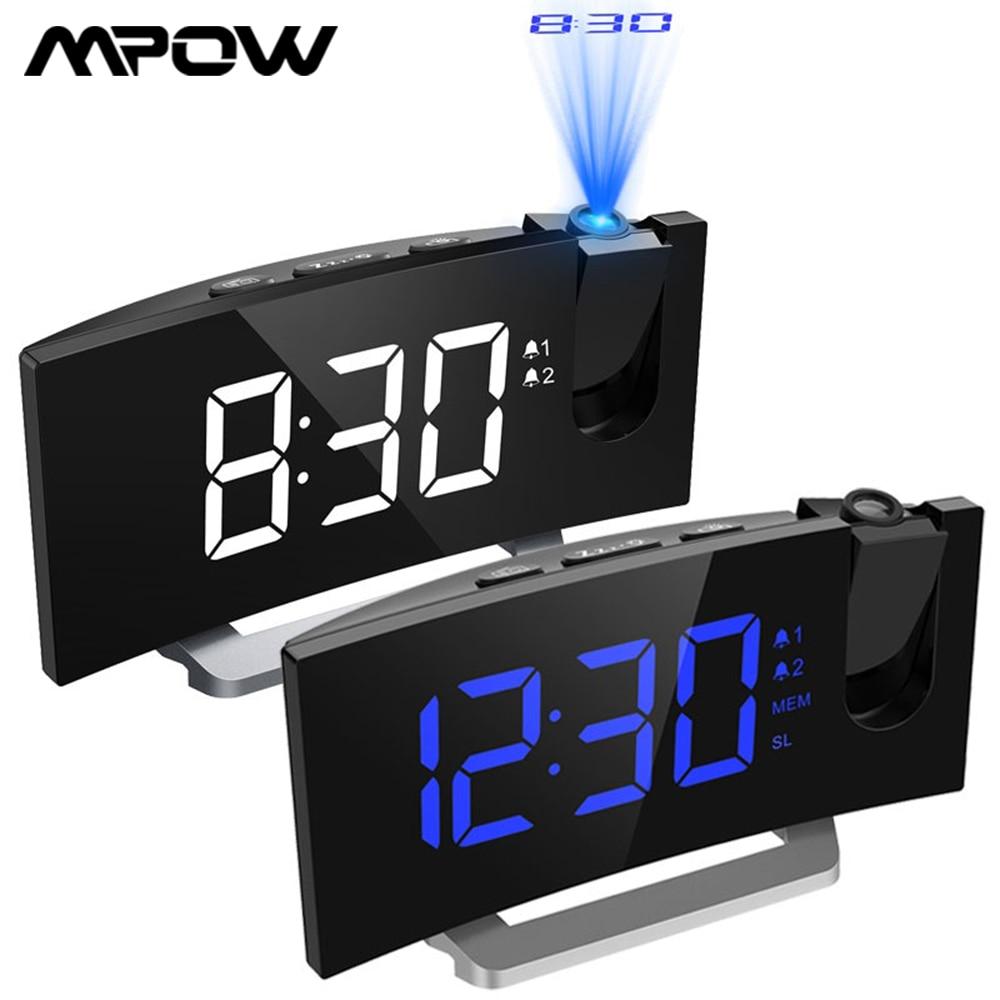MPOW LED FM الإسقاط 2 أجهزة الإنذار على مدار الساعة متعددة الوظائف 5 بوصة شاشة منحنية 5 مستويات عرض سطوع 4 أصوات إنذار قابل للتعديل