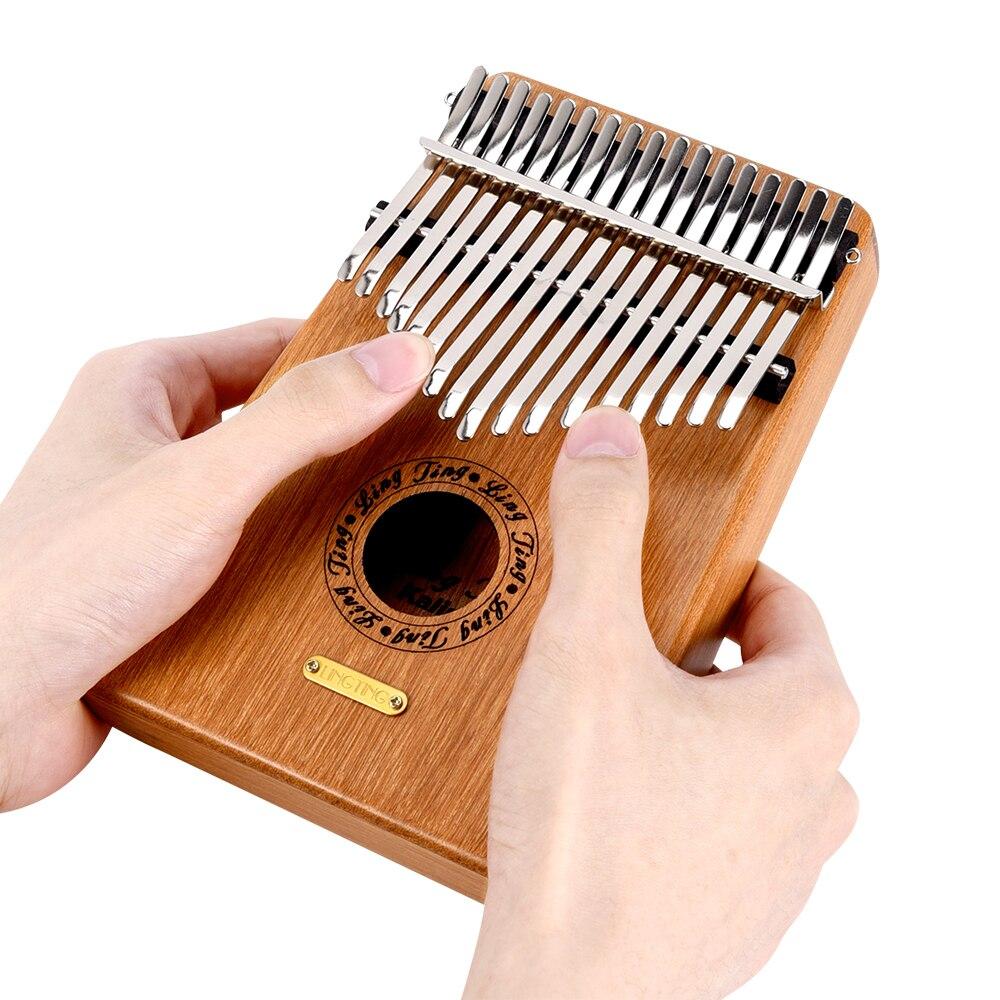 LINGTING-بيانو محمول K17G ذو 17 مفتاحًا ، كاليمبا مبيرا جي ، مادة خشب الصندل مع حقيبة تخزين ، حقيبة حمل ، ملصق موسيقى