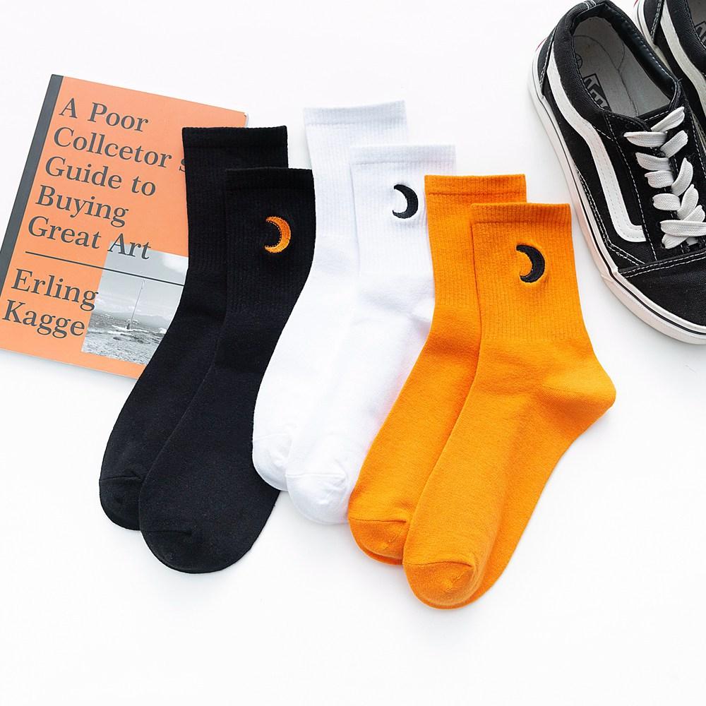 Оригинальный простой дизайн вышивка Луна высокое качество однотонные женские модные повседневные изысканные мужские Красивые носки средн...