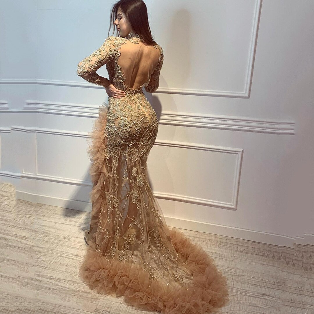 Luxurious Evening Dress Long Sleeve Lace Beads High Neck Mermaid Backless Prom Gowns With Ruffles High Slit