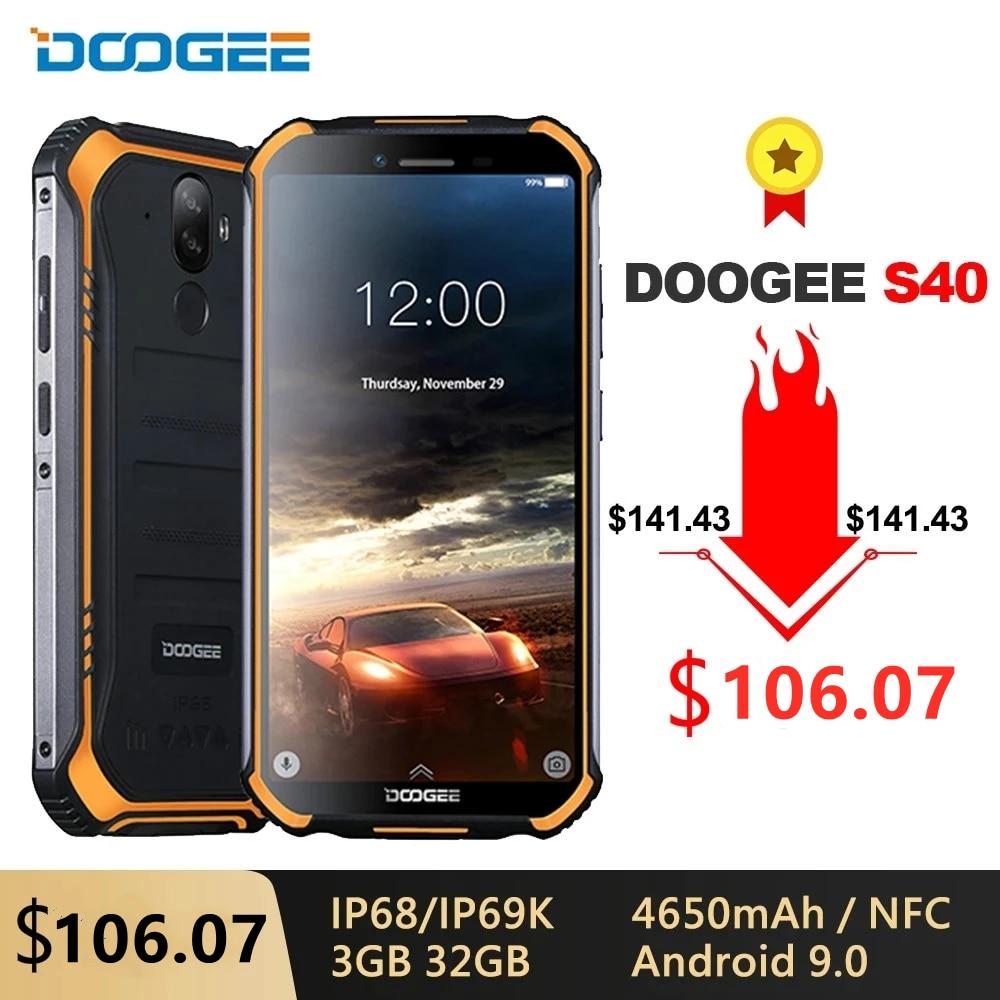 DOOGEE S40 IP68/IP69K 4G هاتف محمول وعر 3GB RAM 32GB ROM أندرويد 9.0 5.5 بوصة 4650mAh MT6739 رباعية النواة 8.0MP 4G الهاتف الذكي