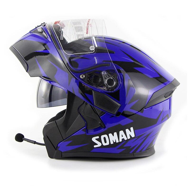 Nuevo Casco abatible hacia arriba con Bluetooth para motocicleta BT Casco Moto visores dobles Casco Moto Capacete DOT ECE Soma 955