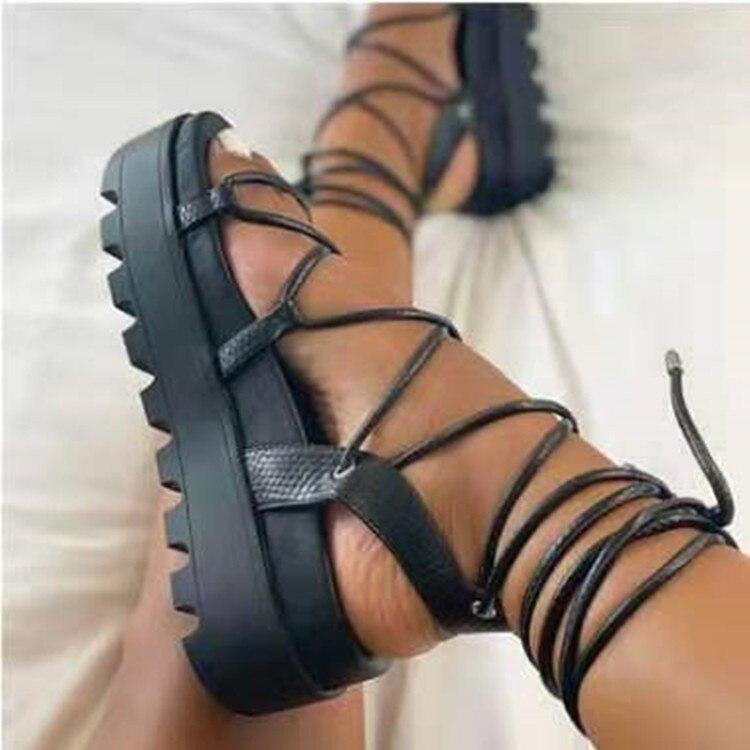 Летняя женская обувь, на платформе женские эспадрильи; Босоножки-гладиаторы на высоком каблуке с открытым носком; Повседневные женские бот...