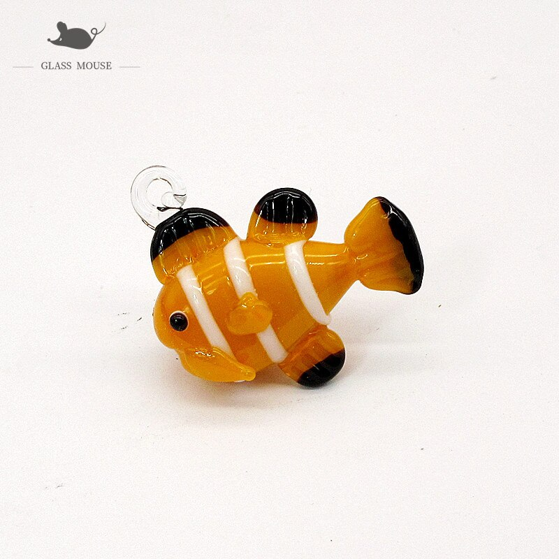 Custom Colorful Handmade Murano glass Clown fish ornament Pendant Aquarium decor accessories Mini lovely Cartoon animal Figurine  - buy with discount